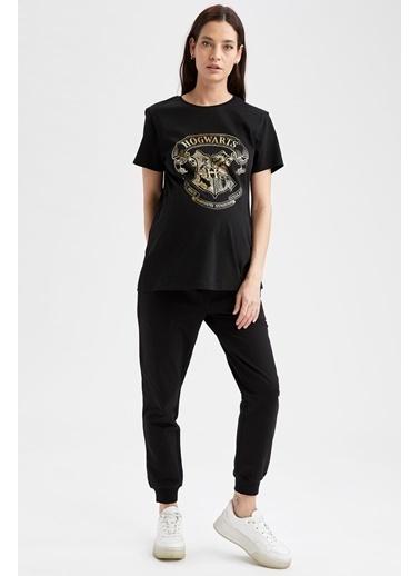 DeFacto Harry Potter Lisanslı Bisiklet Yaka Hamile T-shirt Siyah